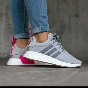 Adidas NMD R2 Boost Gray Pink Sz 9